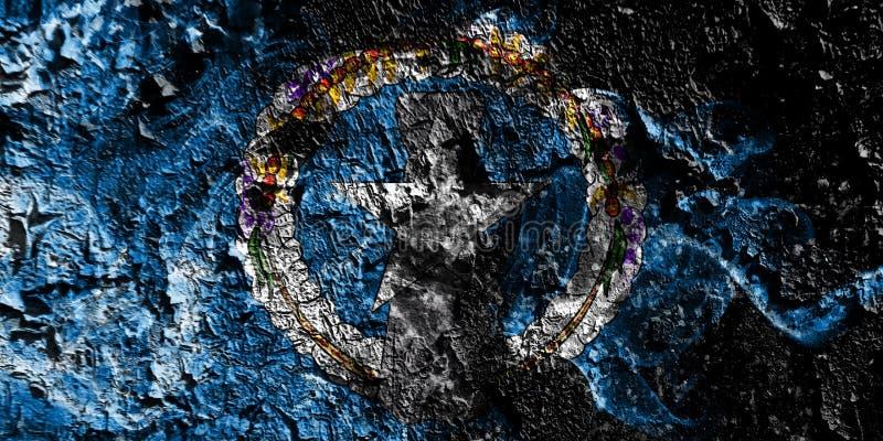 Bandera mística ahumada septentrional de Mariana Islands en el viejo fondo sucio de la pared ilustración del vector