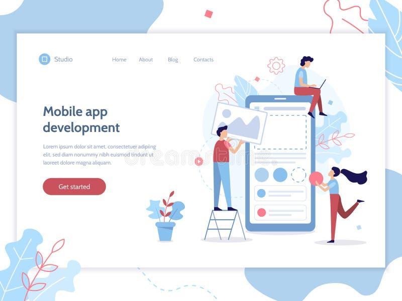 Bandera móvil del desarrollo del app ilustración del vector