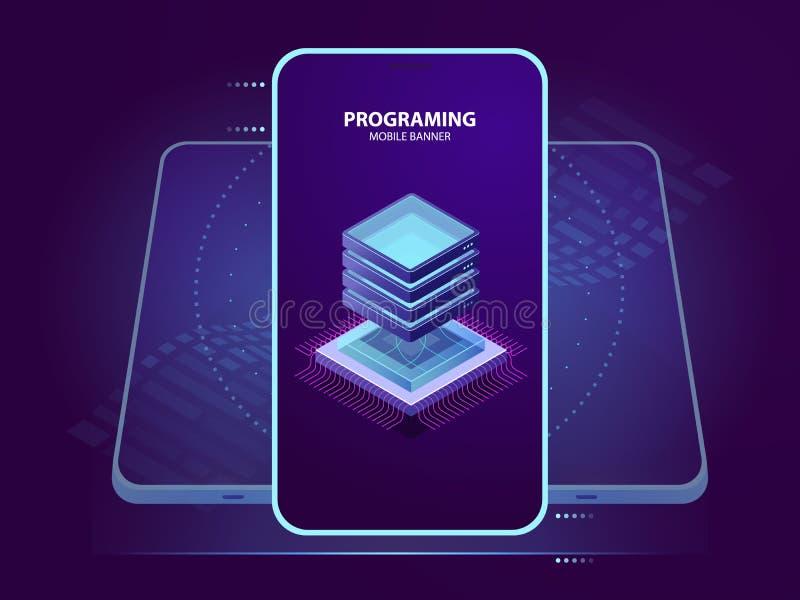 Bandera móvil del desarrollo y de la programación de la aplicación móvil, icono del sitio del servidor, base de datos y nube isom ilustración del vector