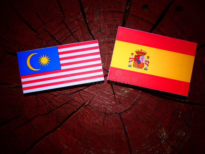 Bandera malasia con la bandera española en un tocón de árbol foto de archivo