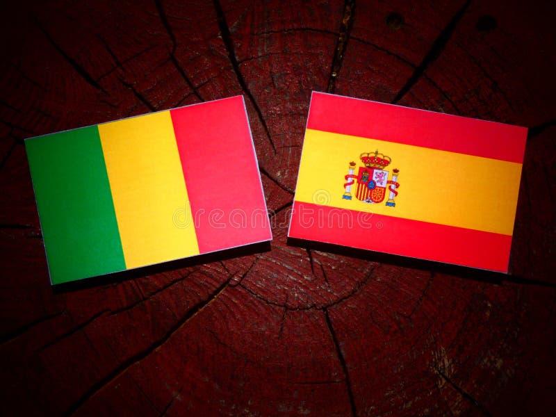 Bandera maliana con la bandera española en un tocón de árbol fotografía de archivo