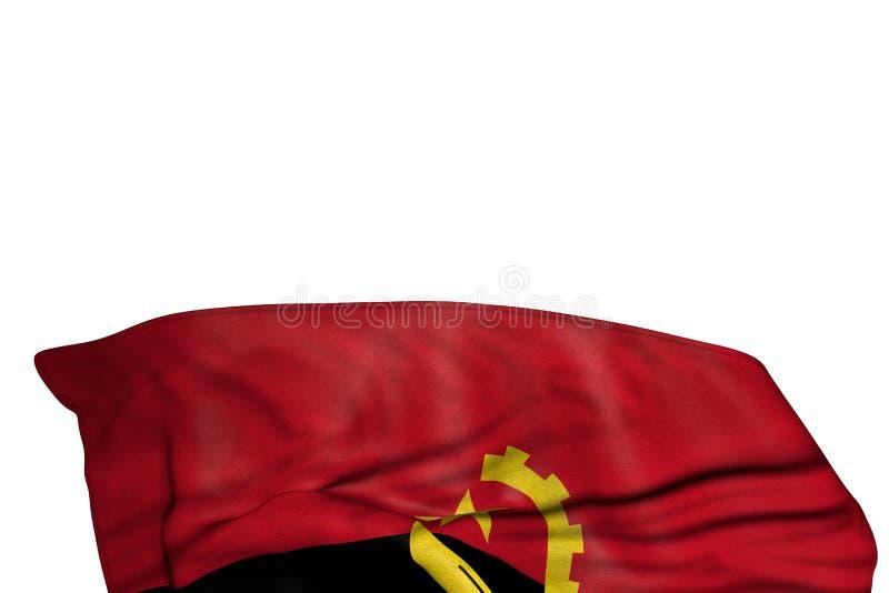 Bandera maravillosa de Angola con los dobleces grandes que mienten en la parte inferior aislada en blanco - cualquier ejemplo de  stock de ilustración