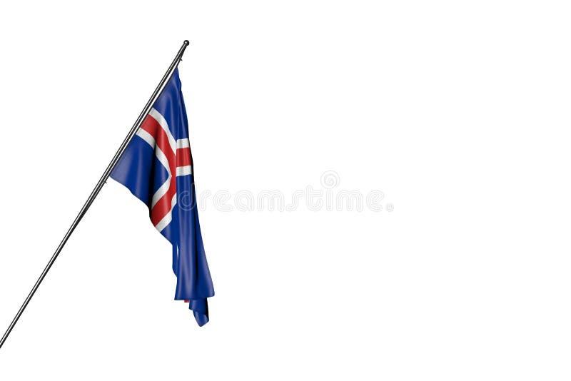 Bandera maravillosa de Islandia que cuelga en un polo diagonal aislado en blanco - cualquier ejemplo de la bandera 3d del día de  stock de ilustración