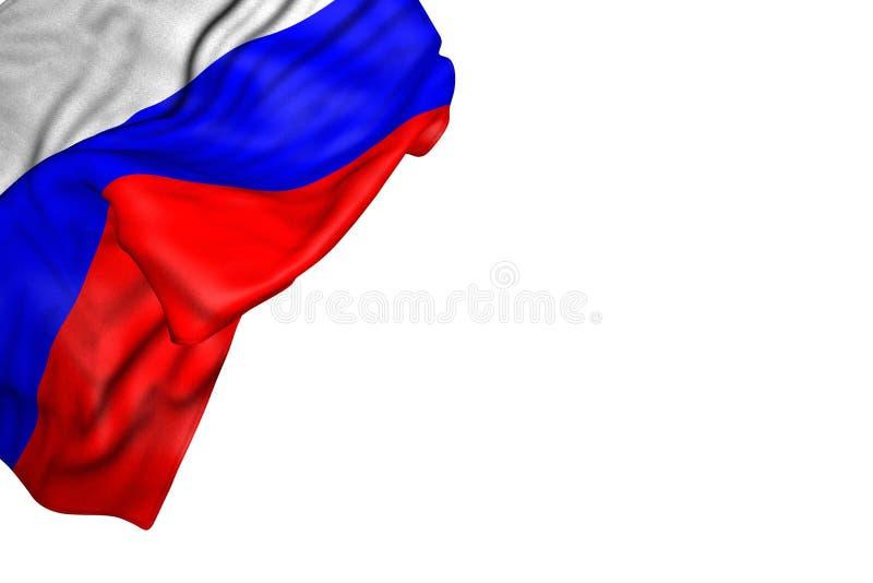 Bandera maravillosa de Rusia con los dobleces grandes que mienten completamente en la esquina izquierda superior aislada en blanc libre illustration