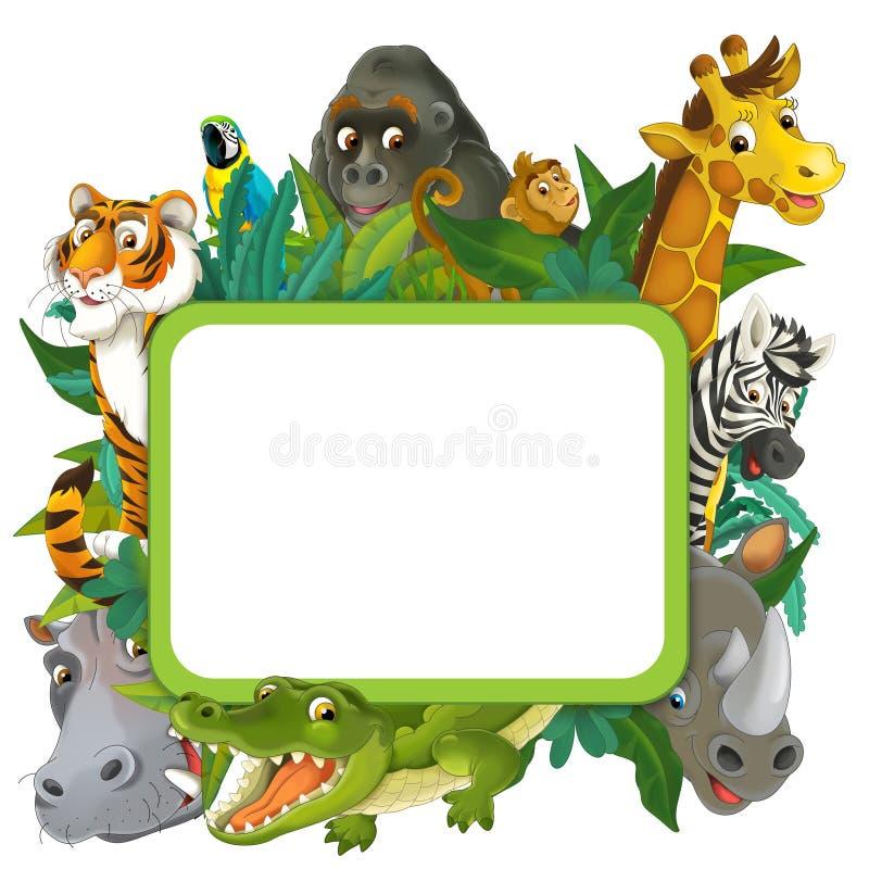 Bandera - marco - frontera - tema del safari de selva - ejemplo para los niños ilustración del vector