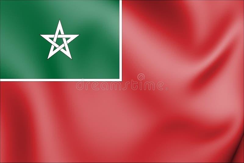 bandera mercantil 3D de Marruecos español 1912-1956 libre illustration