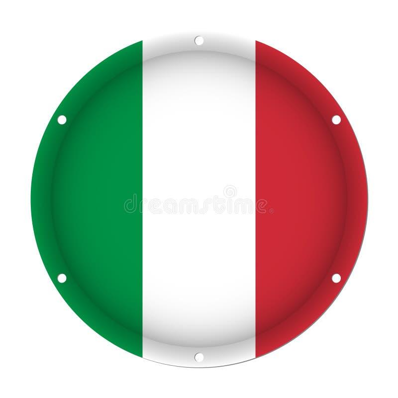 Bandera metálica redonda de Italia con los agujeros del tornillo stock de ilustración