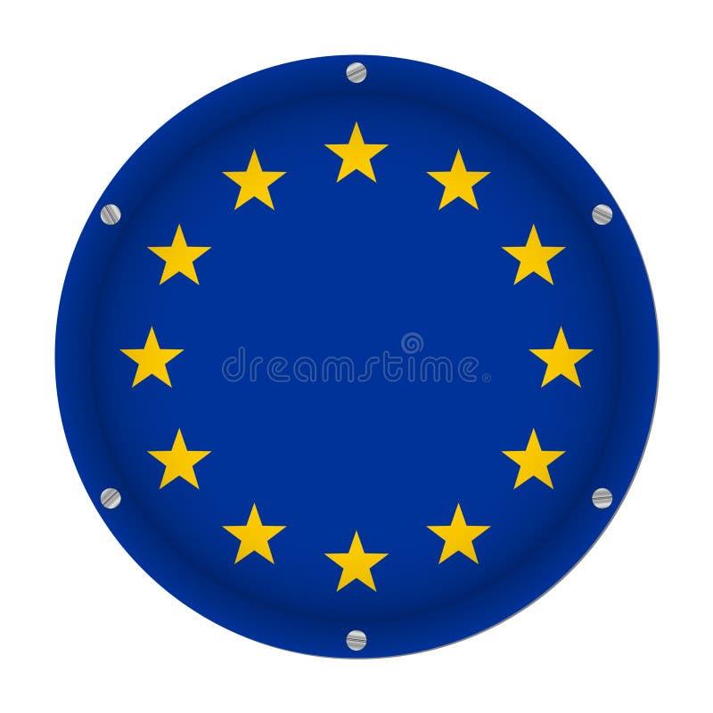 Bandera metálica redonda de la unión europea con los tornillos libre illustration