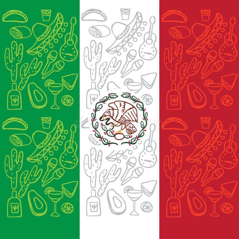 Bandera mexicana con los elementos tradicionales de la cultura stock de ilustración