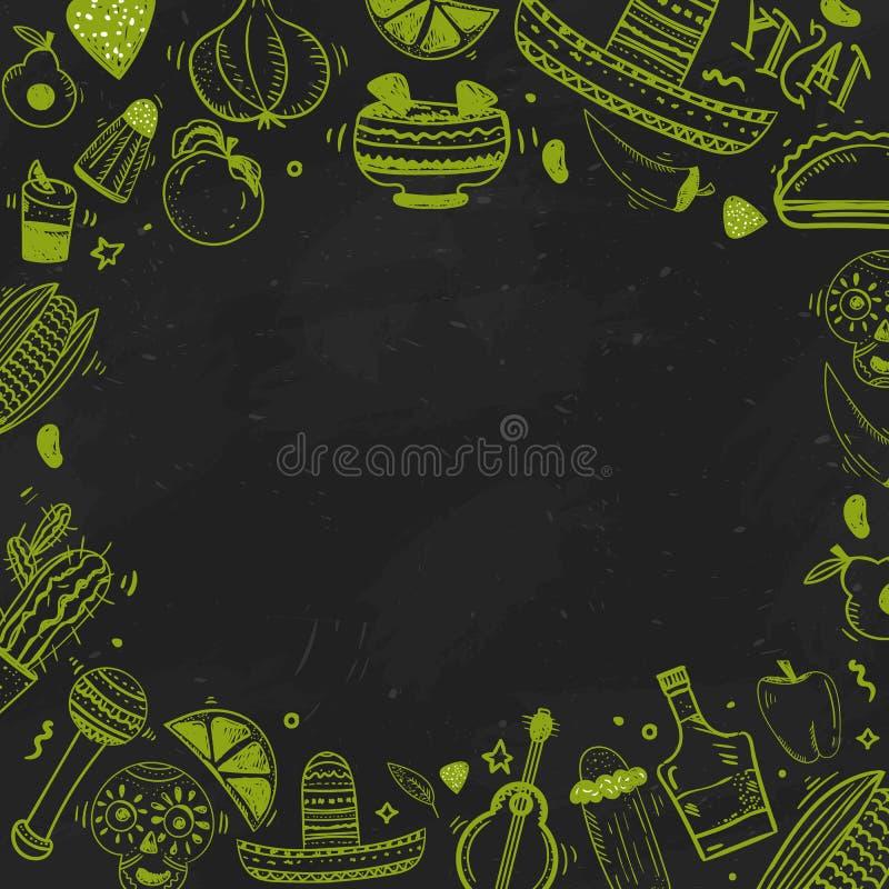Bandera mexicana de la comida Vector el ejemplo del vintage para el menú, cartel en fondo oscuro con el texto del lugar stock de ilustración
