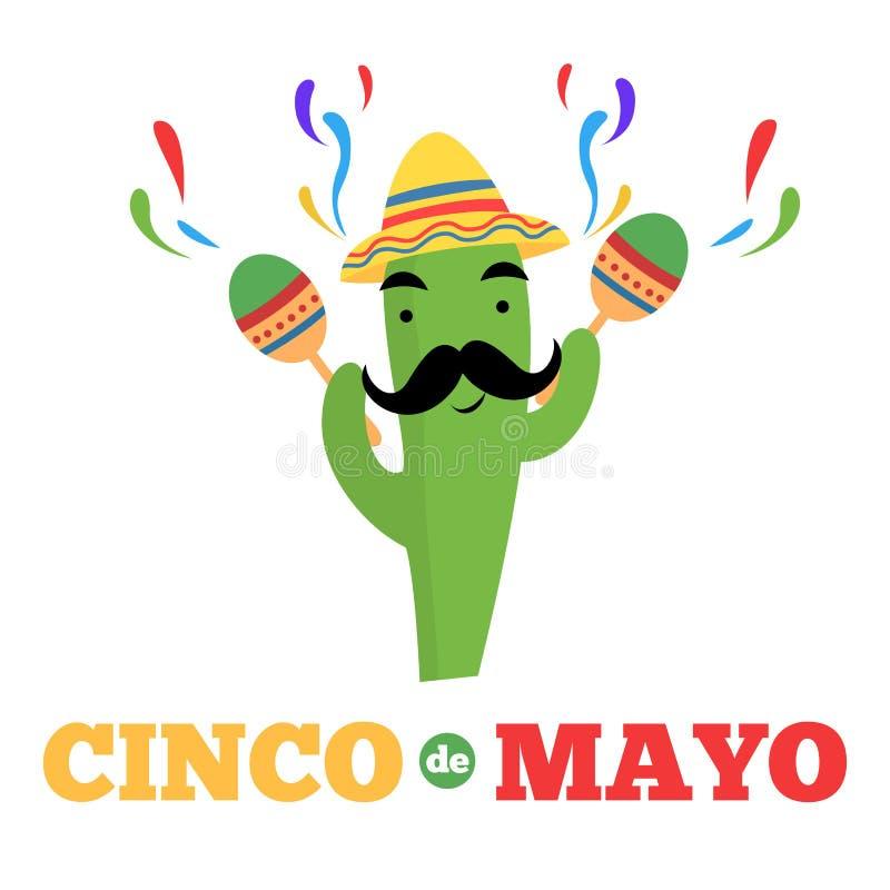 Bandera mexicana de Mayo del cinco del personaje de dibujos animados del cactus stock de ilustración