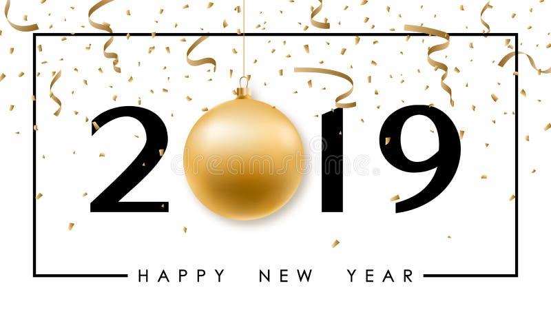 Bandera minimalistic de la Feliz Año Nuevo con la bola brillante de la Navidad, el número 2019 y el confeti festivo ilustración del vector