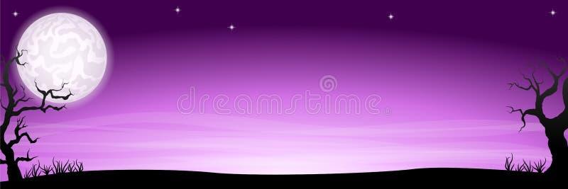 Bandera misteriosa del fondo de la noche de Halloween con una Luna Llena stock de ilustración