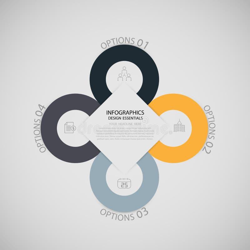 Bandera moderna de las opciones del estilo de la papiroflexia del negocio de Infographics ilustración del vector
