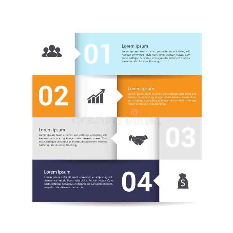 Bandera moderna de las opciones del infographics con la carta de cuatro partes stock de ilustración