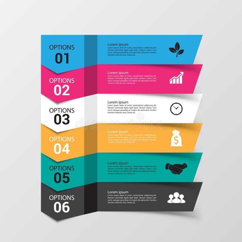 Bandera moderna de las opciones del infographics con la carta de 6 porciones ilustración del vector