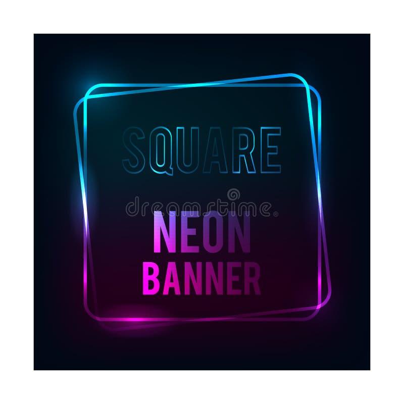 Bandera moderna del color_Neon del ilustrador cuadrado del extracto del vector de la bandera ilustración del vector