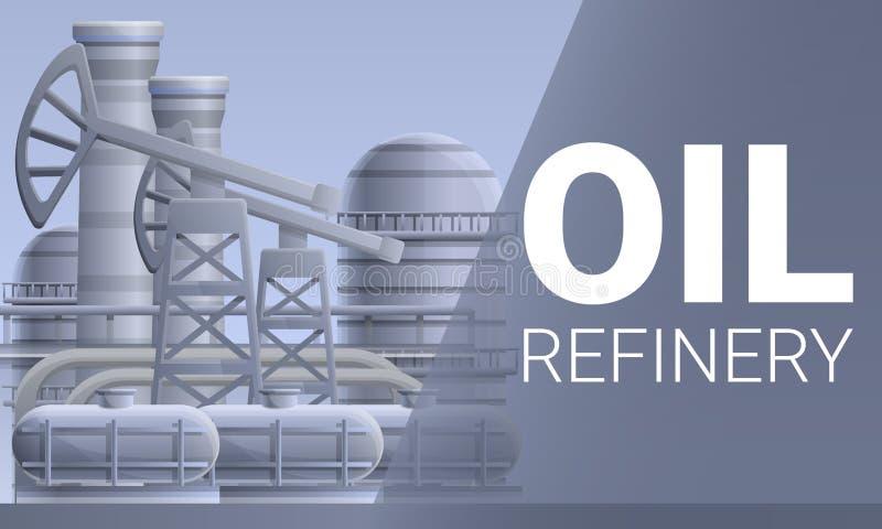 Bandera moderna del concepto de la refinería de petróleo, estilo de la historieta stock de ilustración