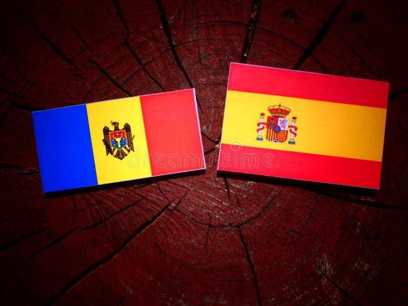 Bandera moldava con la bandera española en un tocón de árbol fotografía de archivo