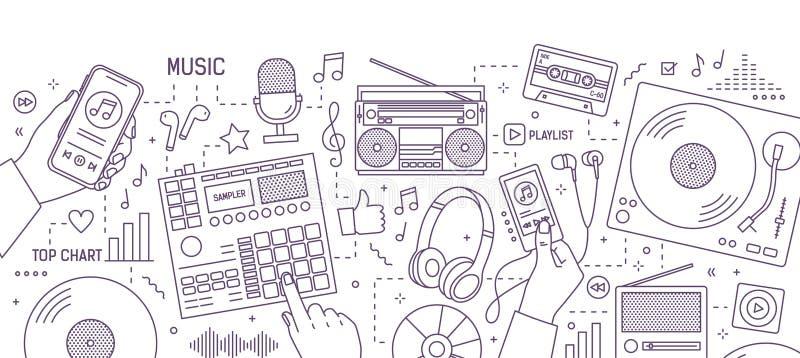 Bandera monocromática con las manos y los diversos dispositivos electrónicos para la música que juega, escuchando y creación dibu ilustración del vector
