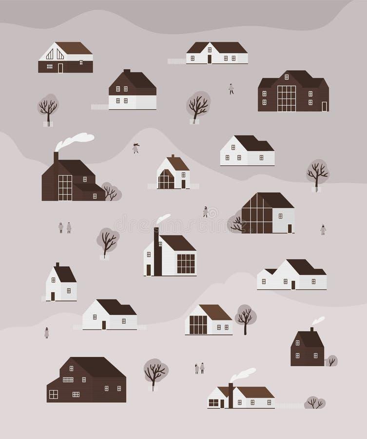 Bandera monocromática vertical con las casas o las cabañas vivas de la arquitectura escandinava moderna y de la gente que camina libre illustration