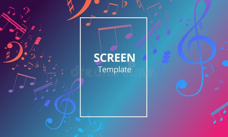 Bandera musical con las notas dominantes coloreadas Fondo abstracto de la música Ejemplo de papel del vector libre illustration