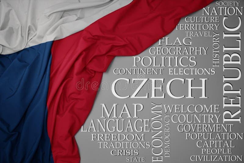 Bandera nacional colorida que agita de la República Checa en un fondo gris con palabras importantes sobre país imagen de archivo libre de regalías