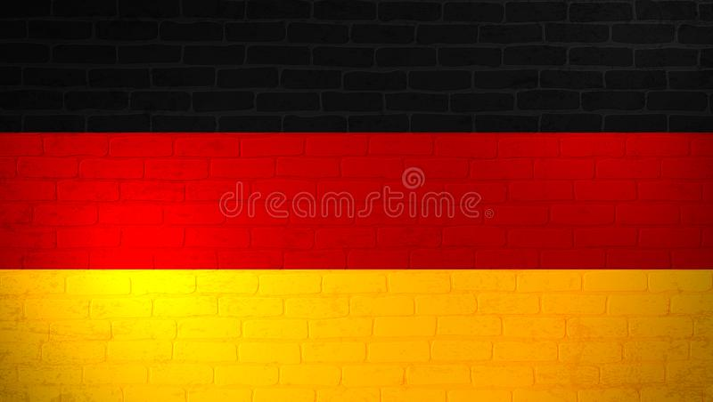 Bandera nacional de Alemania pintada en la pared de ladrillo Fondo de la textura de la pared de piedra Plantilla minimalistic del ilustración del vector