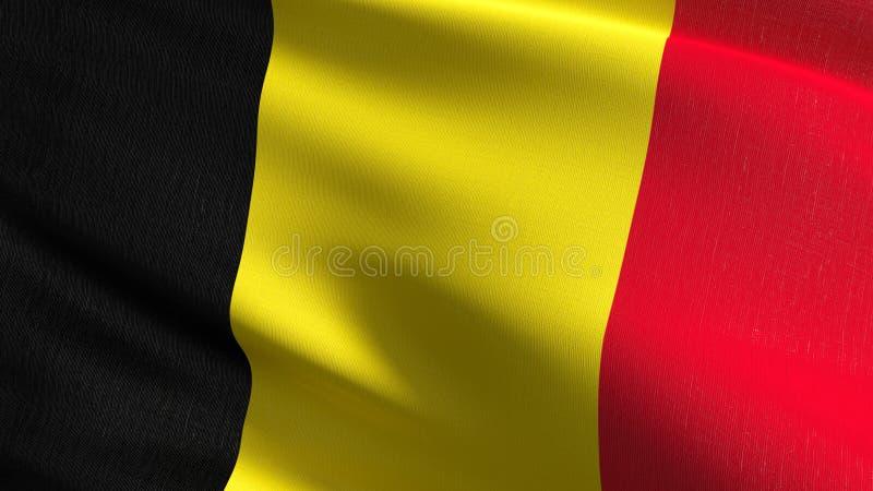 Bandera nacional de Bélgica que sopla en el viento Diseño abstracto patriótico oficial ejemplo de la representación 3D de la mues libre illustration