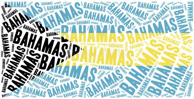 Bandera nacional de Bahamas Ejemplo de la nube de la palabra stock de ilustración