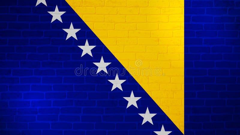 Bandera nacional de Bosnia y Herzegovina pintada en la pared de ladrillo Fondo de la textura de la pared de piedra Plantilla mini ilustración del vector