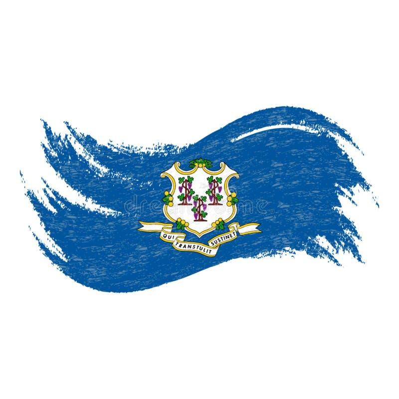 Bandera nacional de Connecticut, diseñada usando los movimientos del cepillo aislados en un fondo blanco Ilustración del vector libre illustration