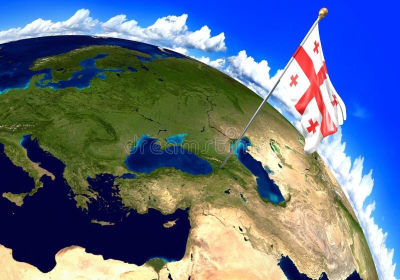 Bandera nacional de Georgia que marca la ubicación del país en mapa del mundo 3D representación, partes de esta imagen equipadas  ilustración del vector