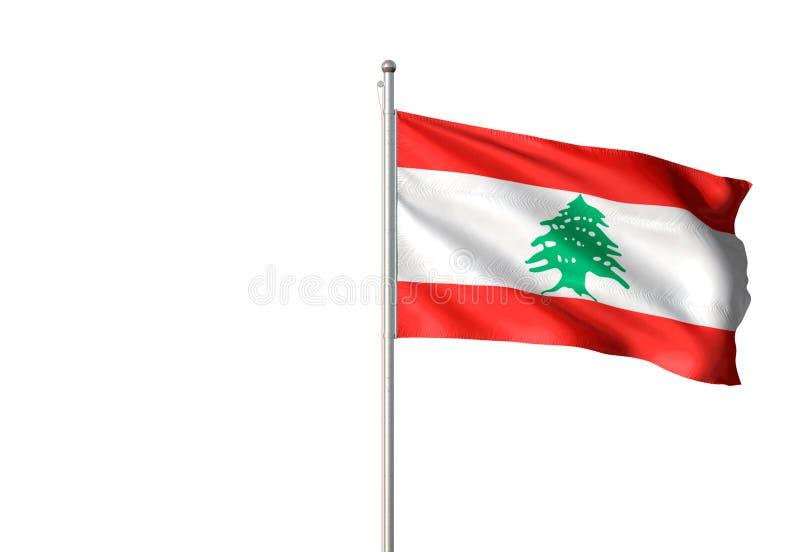 Bandera nacional de Líbano que agita el ejemplo realista aislado 3d del fondo blanco stock de ilustración