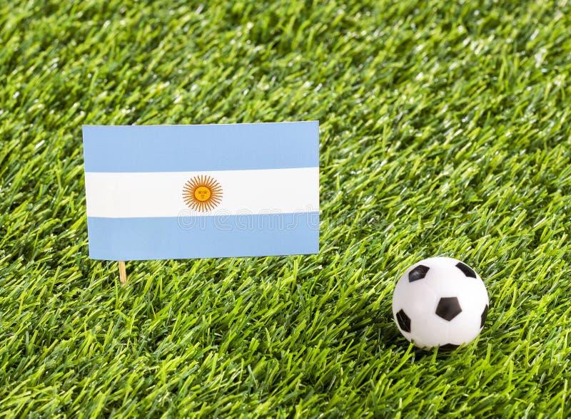 Bandera nacional de la Argentina con el balón de fútbol en el estadio - espacio del texto libre illustration