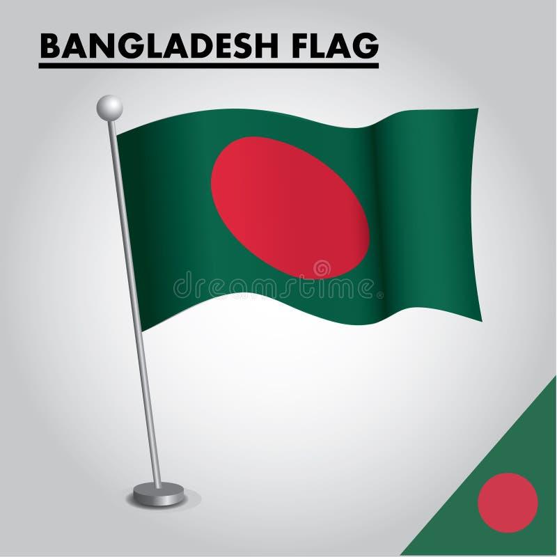 Bandera nacional de la bandera de BANGLADESH de BANGLADESH en un polo stock de ilustración