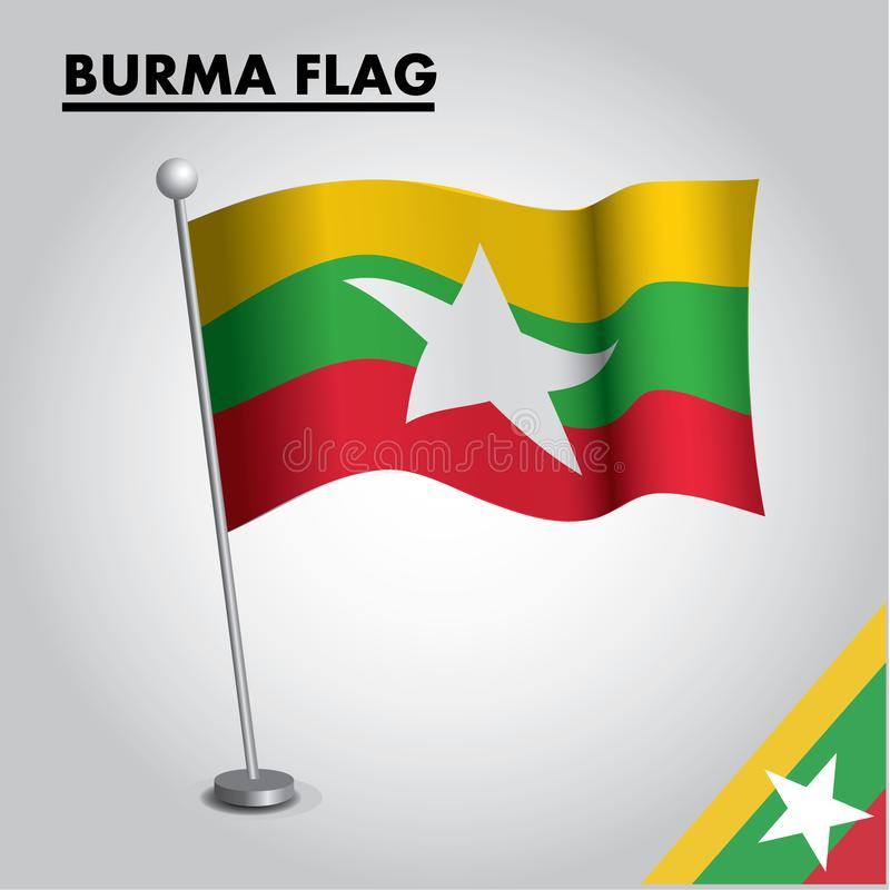 Bandera nacional de la bandera de BIRMANIA de BIRMANIA en un polo libre illustration
