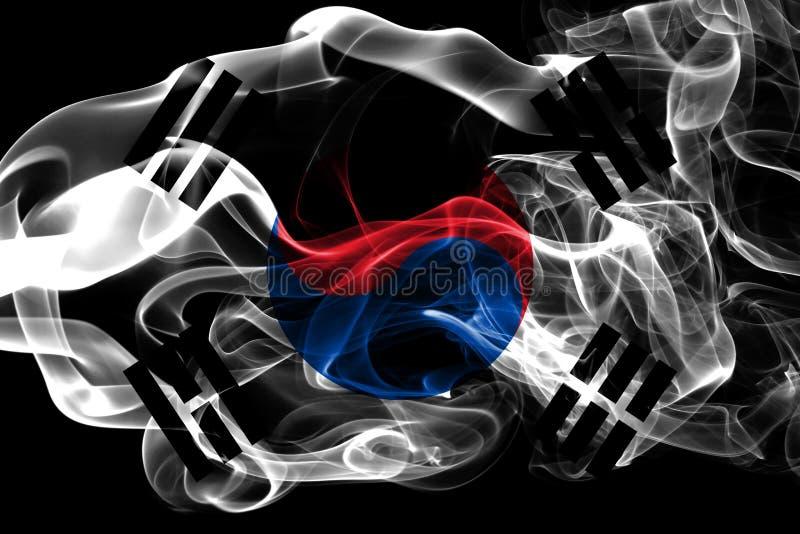 Bandera nacional de la Corea del Sur hecha del humo coloreado aislado en fondo negro Fondo sedoso abstracto de la onda foto de archivo