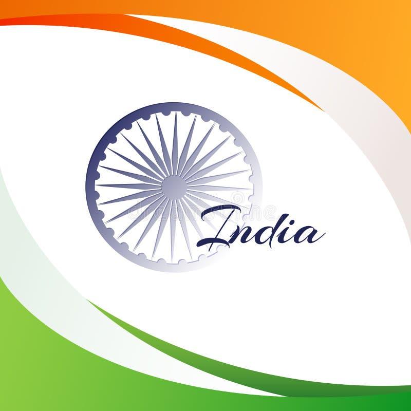 Bandera nacional de la India con el nombre del elemento decorativo del diseño del país con las líneas abstractas lisas fondo para ilustración del vector