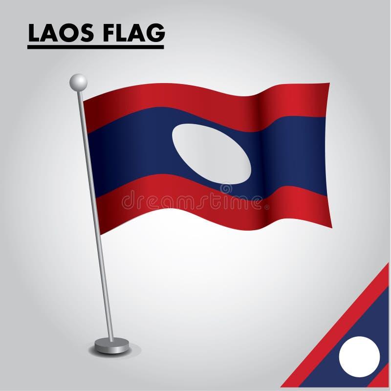 Bandera nacional de la bandera de LAOS de LAOS en un polo ilustración del vector