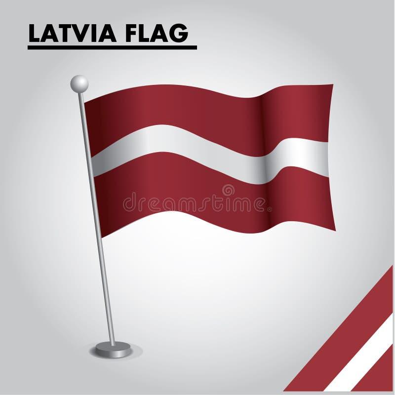 Bandera nacional de la bandera de LETONIA de LETONIA en un polo stock de ilustración