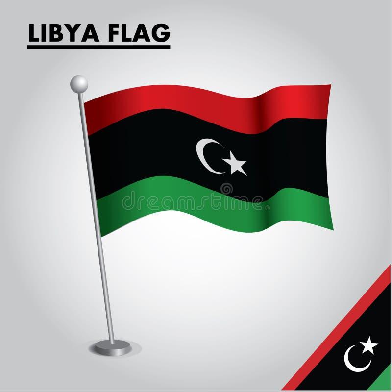 Bandera nacional de la bandera de LIBIA de LIBIA en un polo stock de ilustración