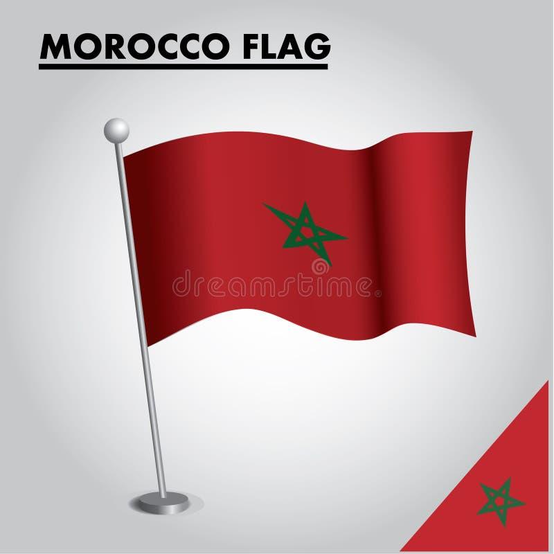 Bandera nacional de la bandera de MARRUECOS de MARRUECOS en un polo stock de ilustración