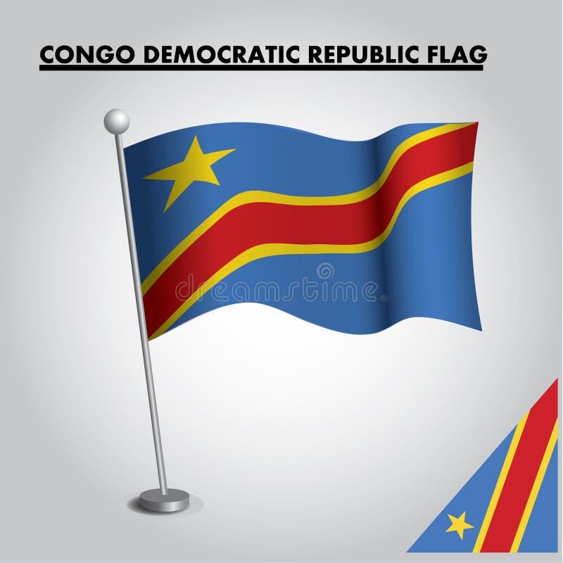 Bandera nacional de la bandera de la REP?BLICA DEMOCR?TICA de CONGO de la REP?BLICA DEMOCR?TICA de CONGO en un polo stock de ilustración