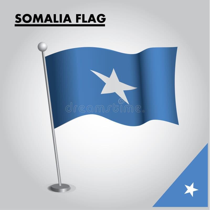 Bandera nacional de la bandera de SOMALIA de SOMALIA en un polo stock de ilustración