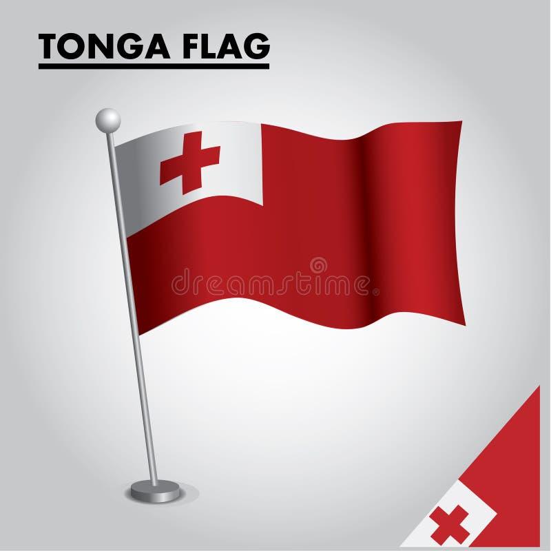 Bandera nacional de la bandera de TONGA de TONGA en un polo libre illustration