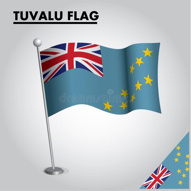 Bandera nacional de la bandera de TUVALU de TUVALU en un polo libre illustration