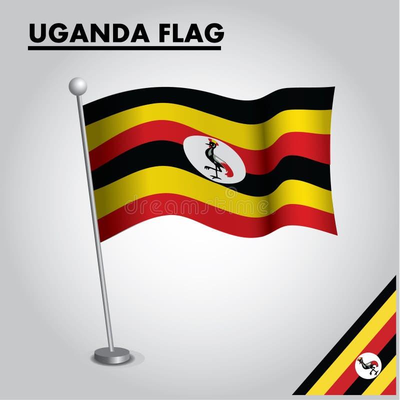 Bandera nacional de la bandera de UGANDA de UGANDA en un polo ilustración del vector