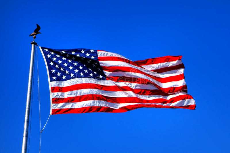 Bandera nacional de las barras y estrellas de Estados Unidos foto de archivo