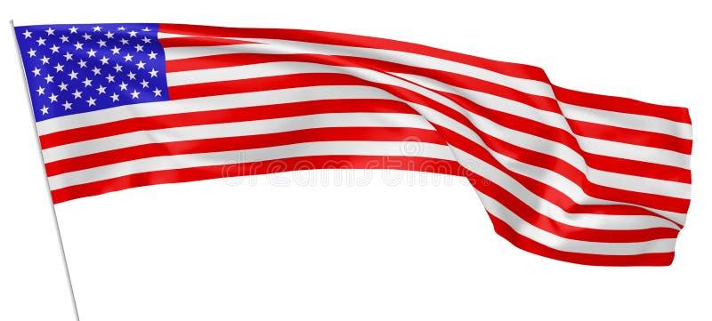Bandera nacional de los Estados Unidos de América en asta de bandera libre illustration